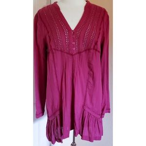 Free People Purple Eyelet Embroidered Tunic